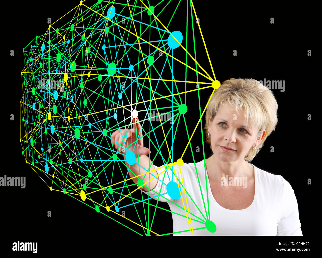 Symbolic image, networking, network, Internet networking, social media, connections, virtual space, communications. - Stock Image