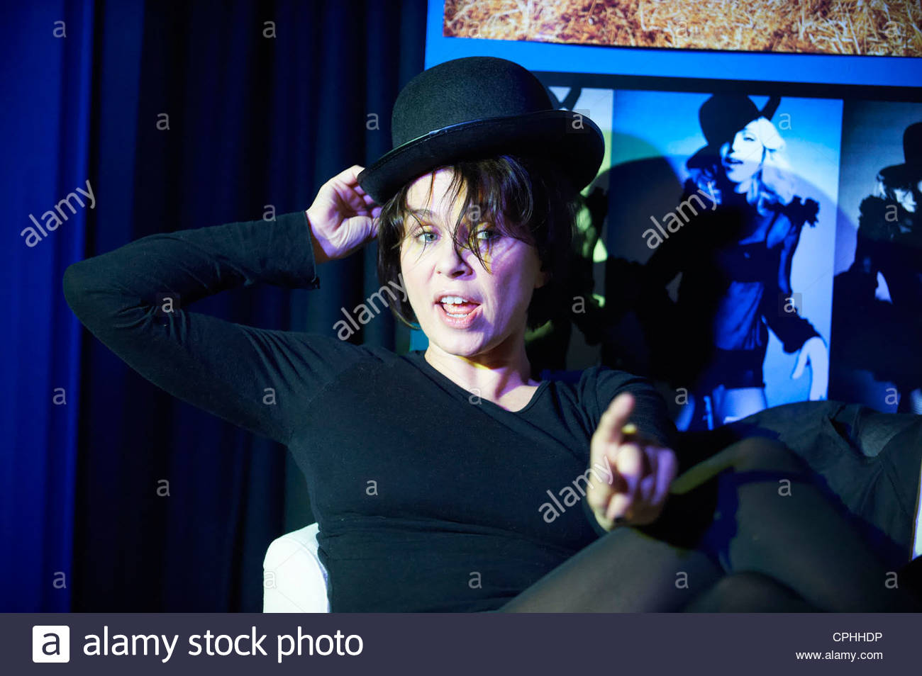 Touched Like A Virgin by Zoe Lewis, directed by James Phillips. With Sadie Frost as Lesley. Opens at The Soho Theatre - Stock Image