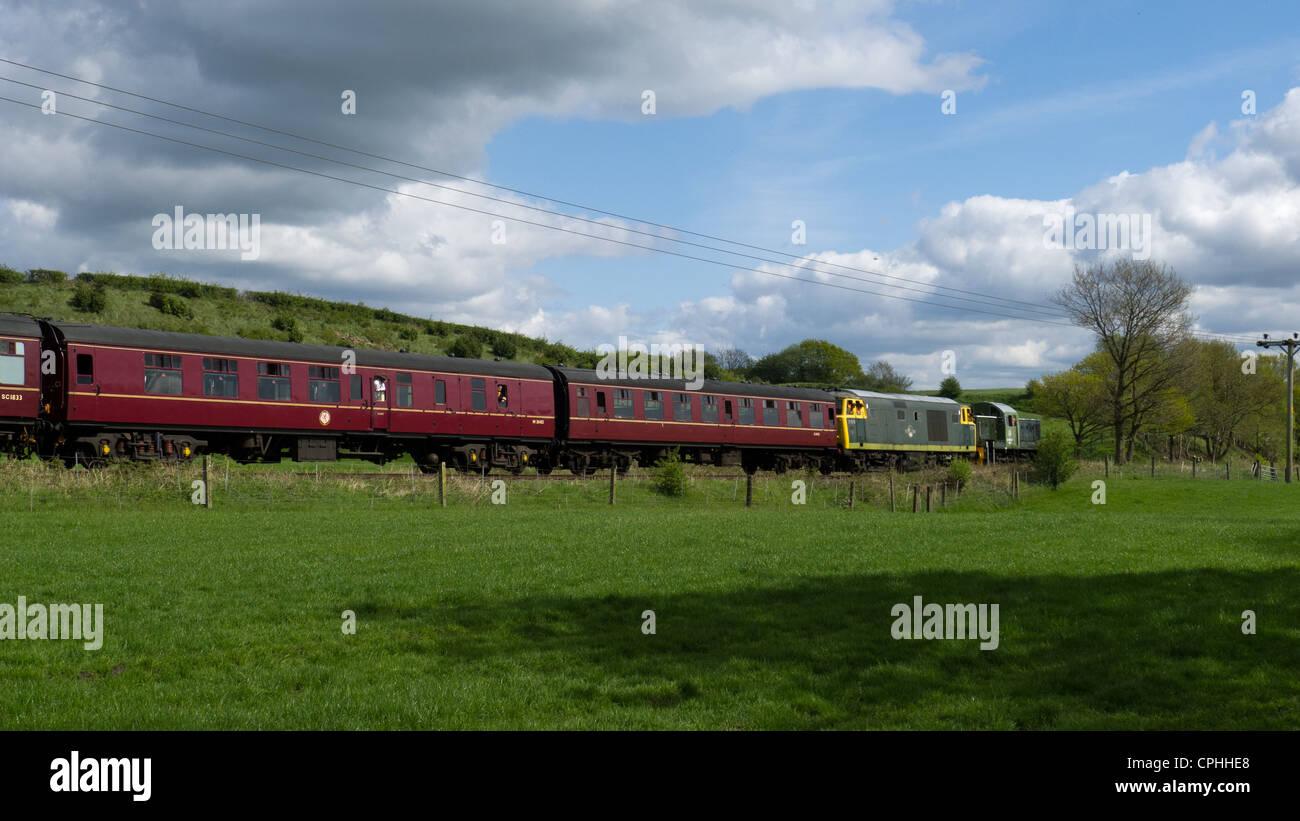 Train at Burrs Country Park, Bury, Lancashire - Stock Image