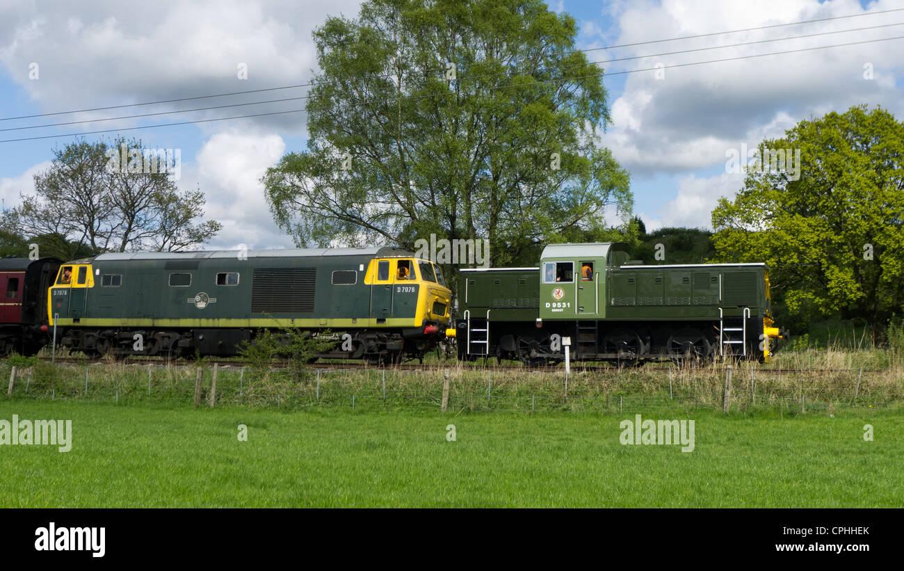 Old locomotives on East Lancs Railway, Bury, Lancashire Stock Photo