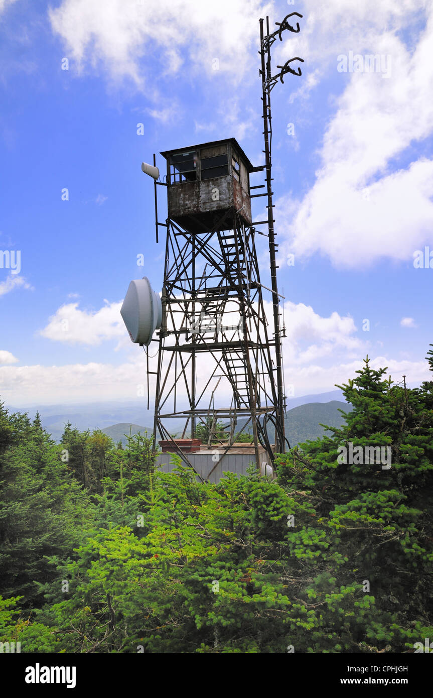 Watch tower atop Killington mountain in central Vermont - Stock Image