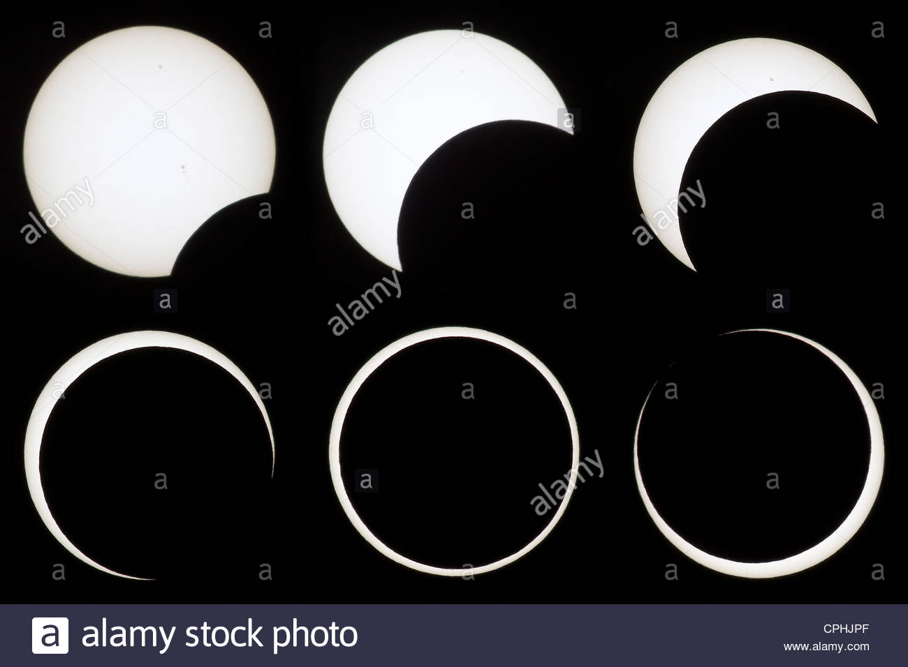A composite of six images shows the progression of the annular solar eclipse of May 20, 2012 as viewed from Lassen - Stock Image