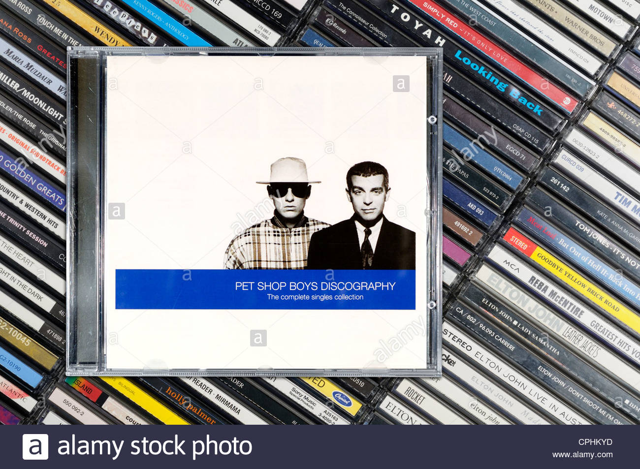 album, CD music collection cases, England. - Stock Image