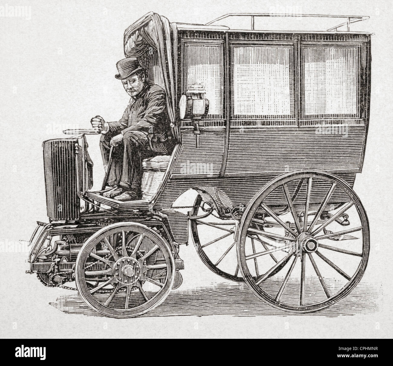 A 19th century petrol driven motor carriage designed by Victor Etienne Prétot. From L'Illustration published - Stock Image