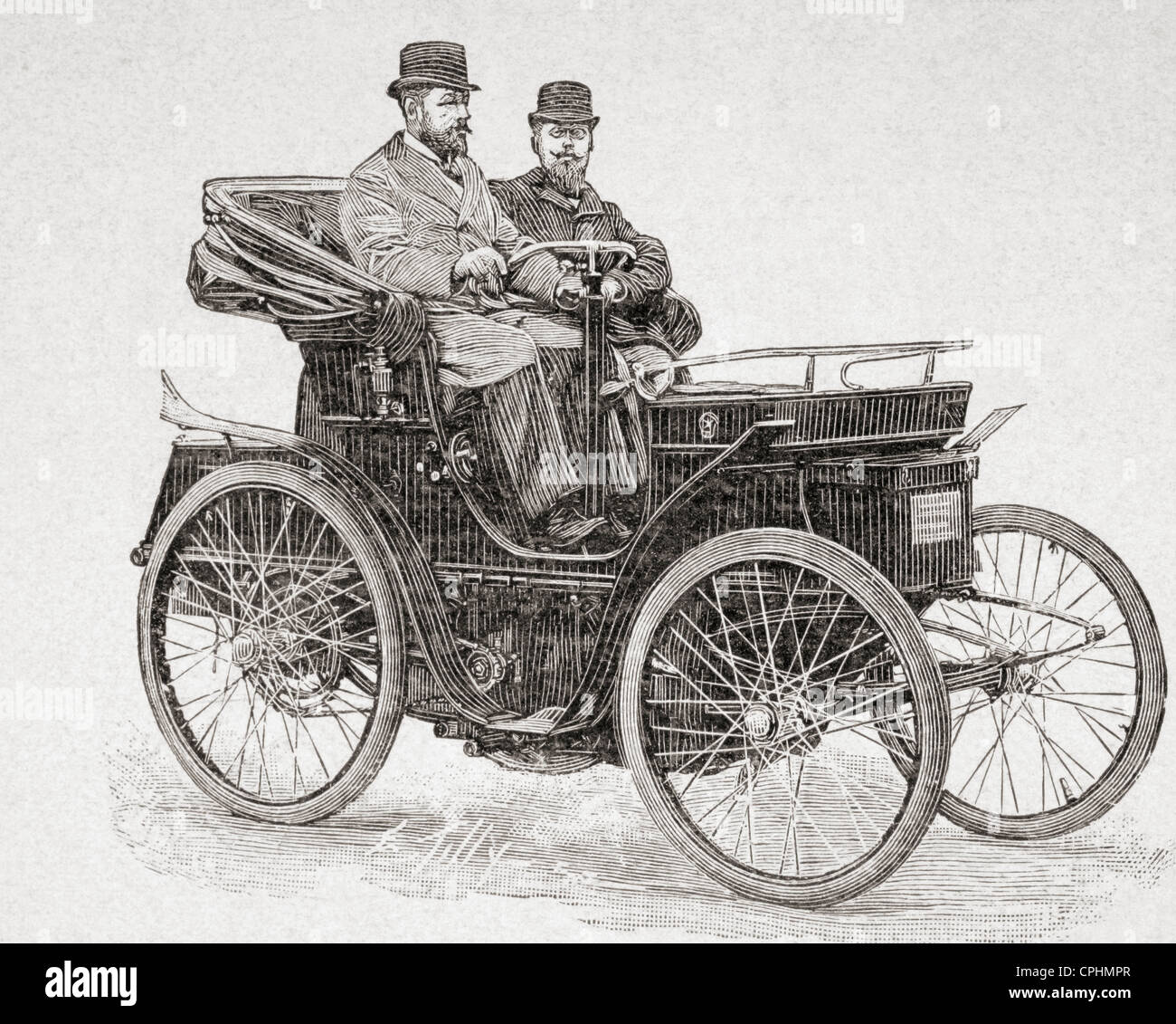 An early Rochet-Schneider motor car. From L'Illustration published 1897. - Stock Image
