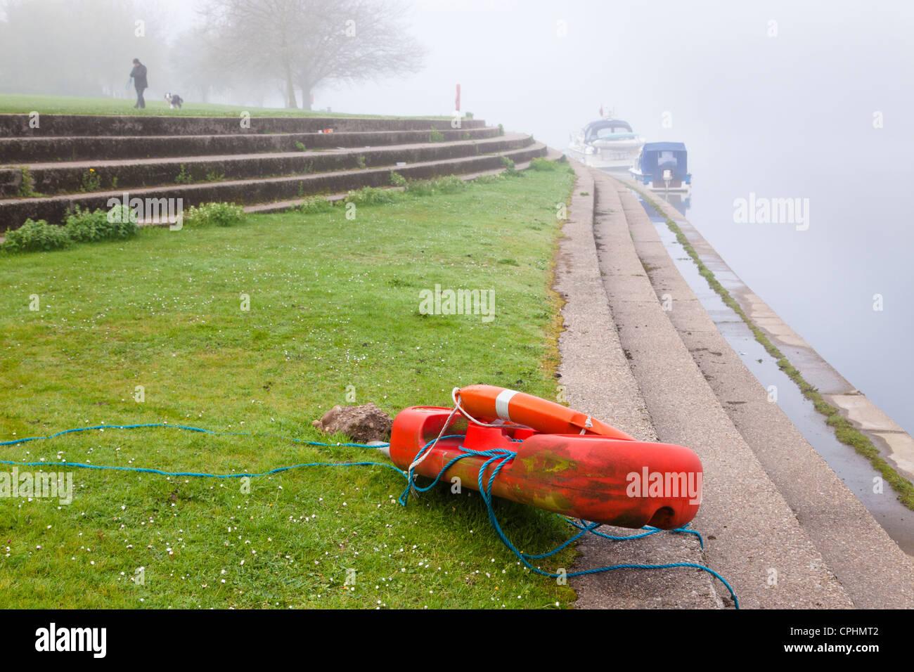 Vandalism of safety equipment. A vandalised lifebuoy by the River Trent, Nottinghamshire, England, UK - Stock Image