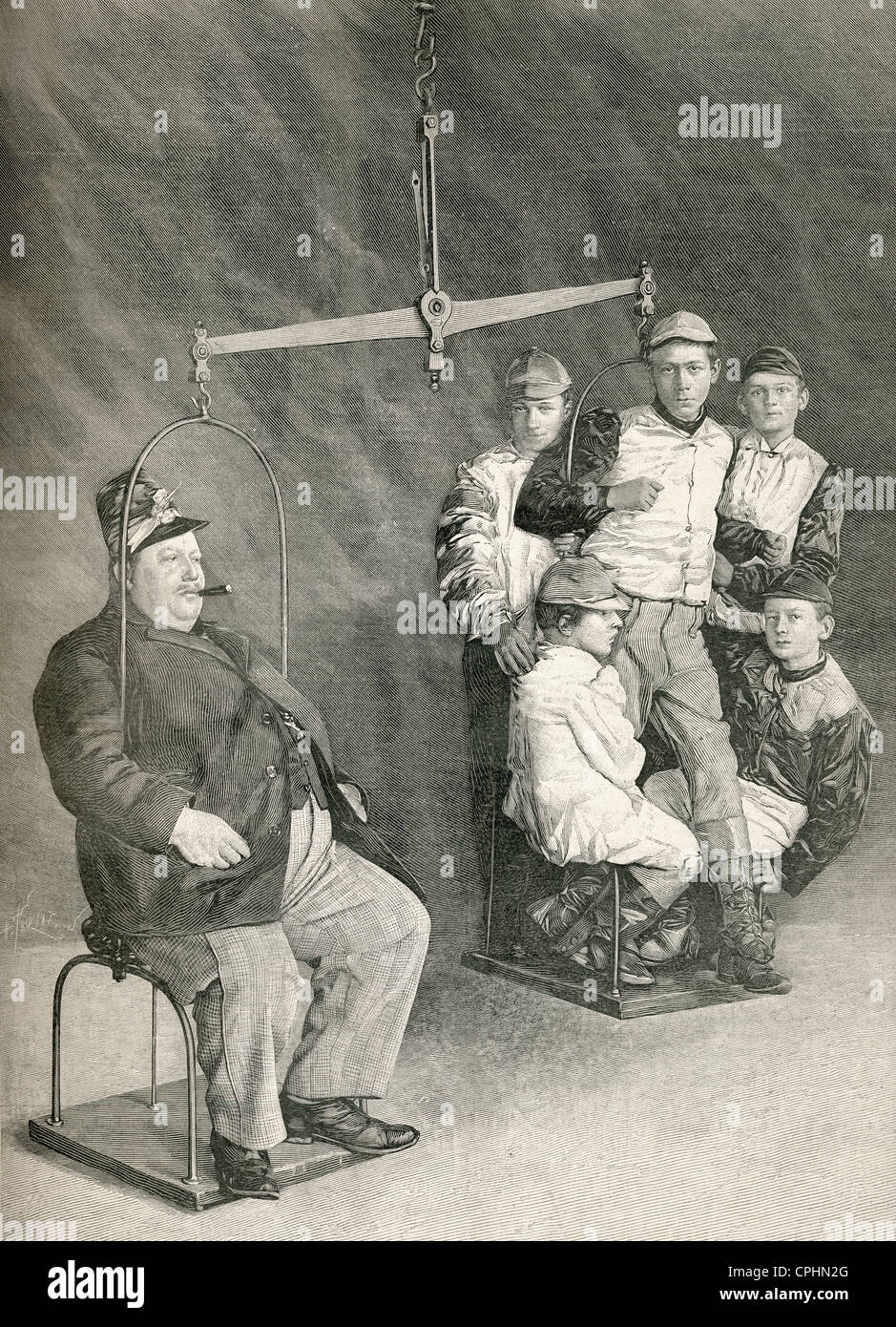 The President of the 100 Kilos Society being weighed against five jockeys. From L'Illustration published 1897. - Stock Image