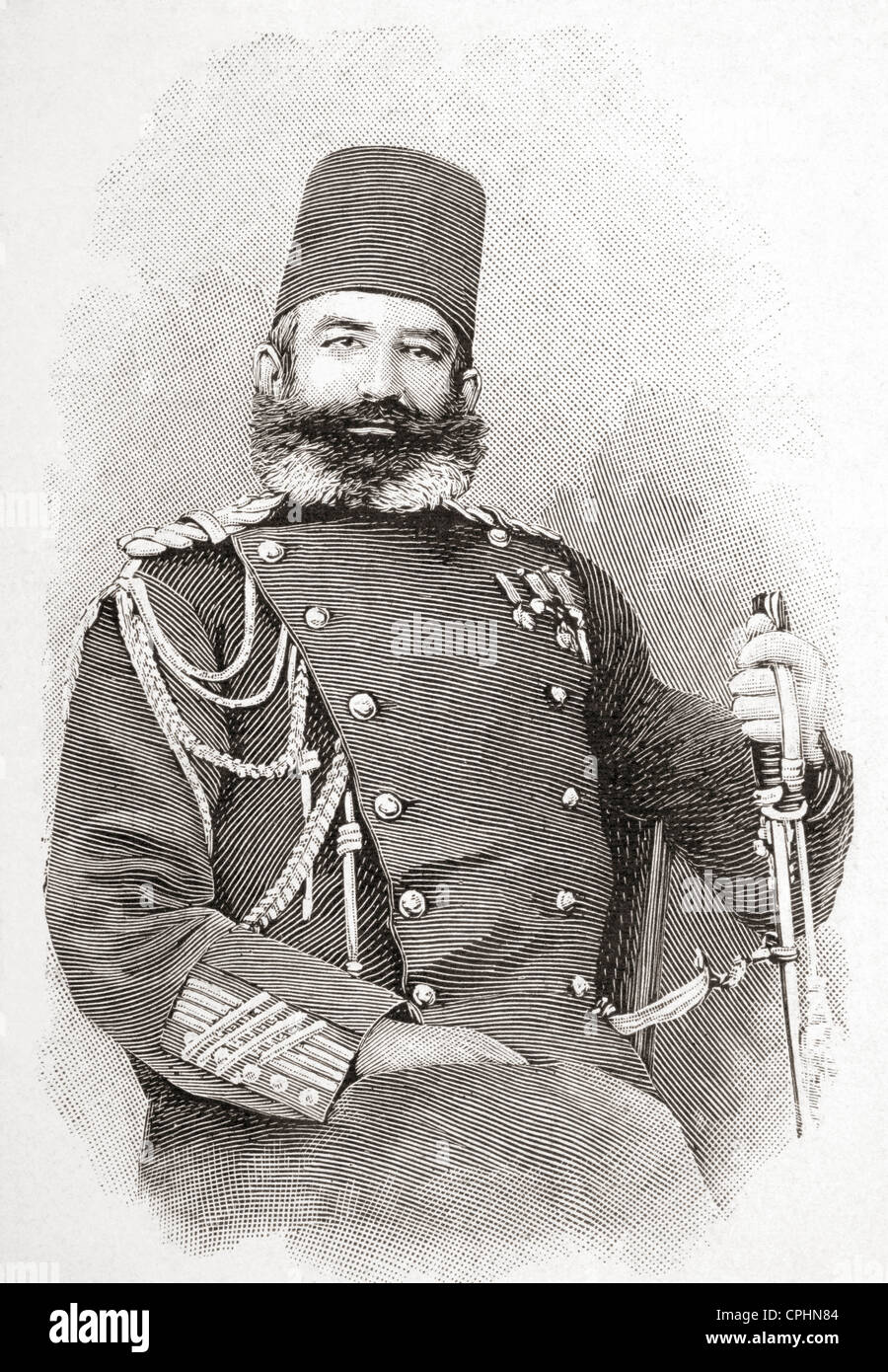 Edhem Pasha, 1851-1909. Ottoman commander during the Greco-Turkish war of 1897. From L'Illustration published - Stock Image
