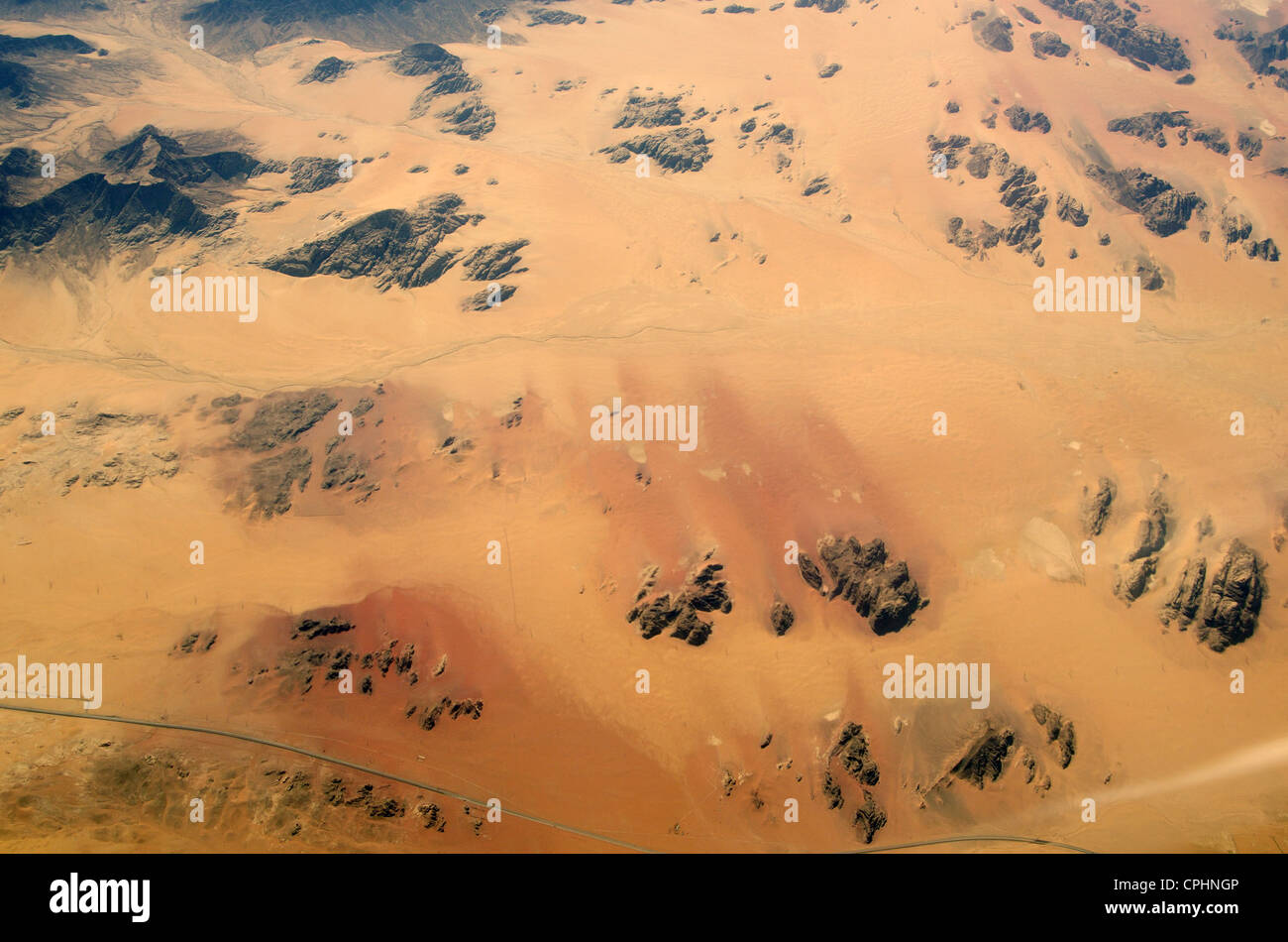 Aerial view. Flying over the desert, Egypt, about 9000 m height - Stock Image