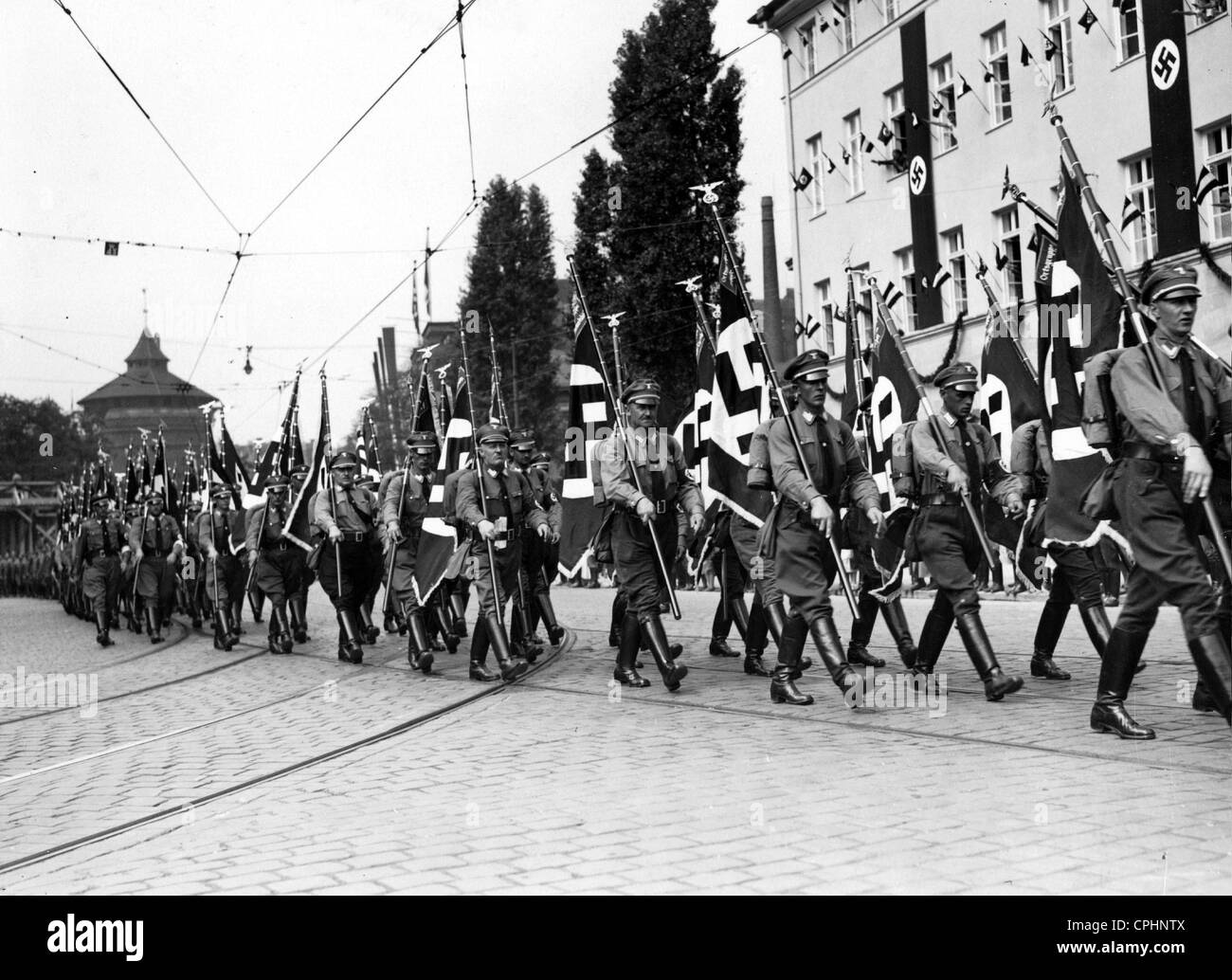 Political leaders march during the Nuremberg Rally, 1934 - Stock Image