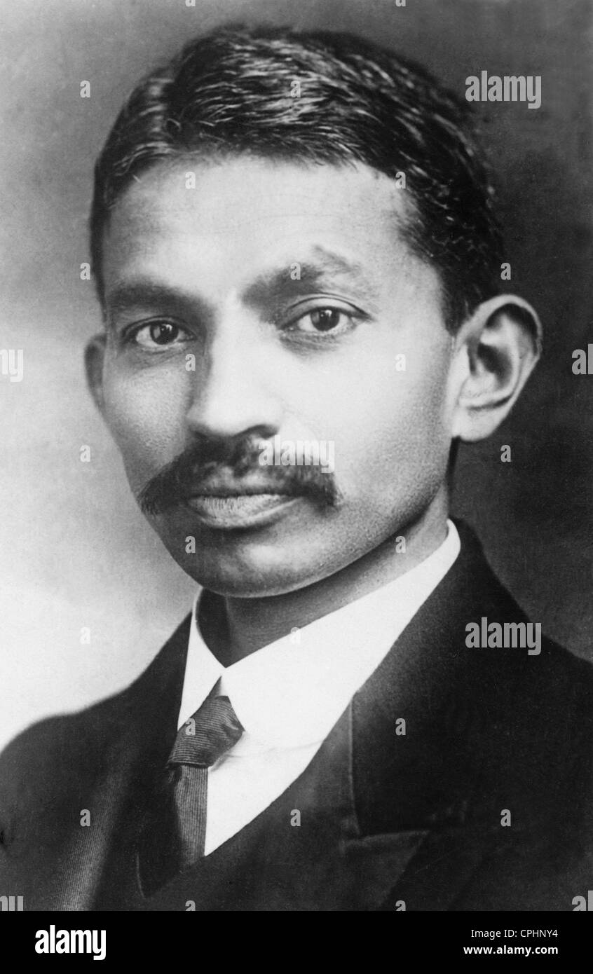 Portrait of a young Mahatma Gandhi (b/w photo) - Stock Image