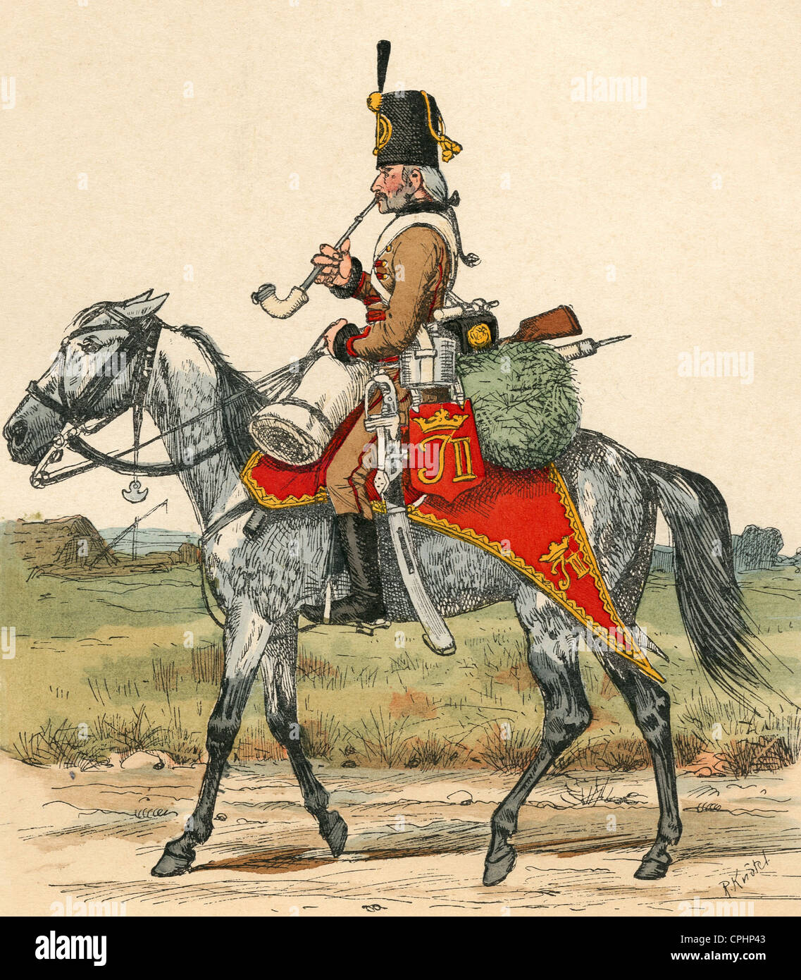 Hussar from Brentano's Slavonic-Croatian border volunteer corps - Stock Image