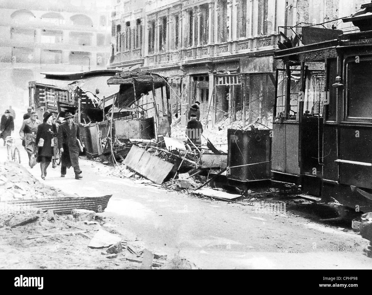 Streetcars in Berlin, Destroyed During an Airstrike - Stock Image