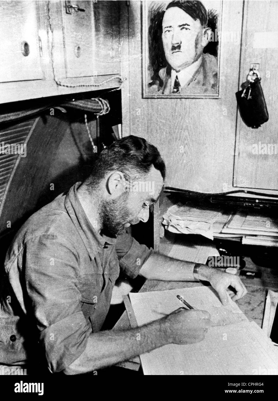 The cabin of a German U-boat captain, featuring a ...