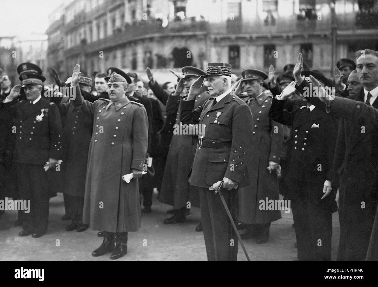 Jean François Darlan, Henri Philippe Pétain, and Francisco Franco, 1941 - Stock Image