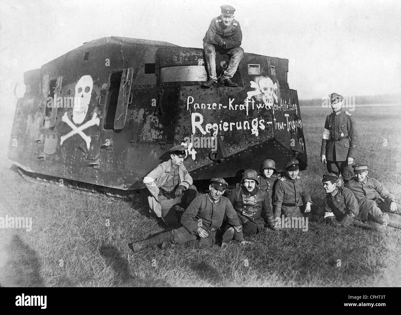 Government loyal tank during the Spartacus uprising, 1919 Stock Photo