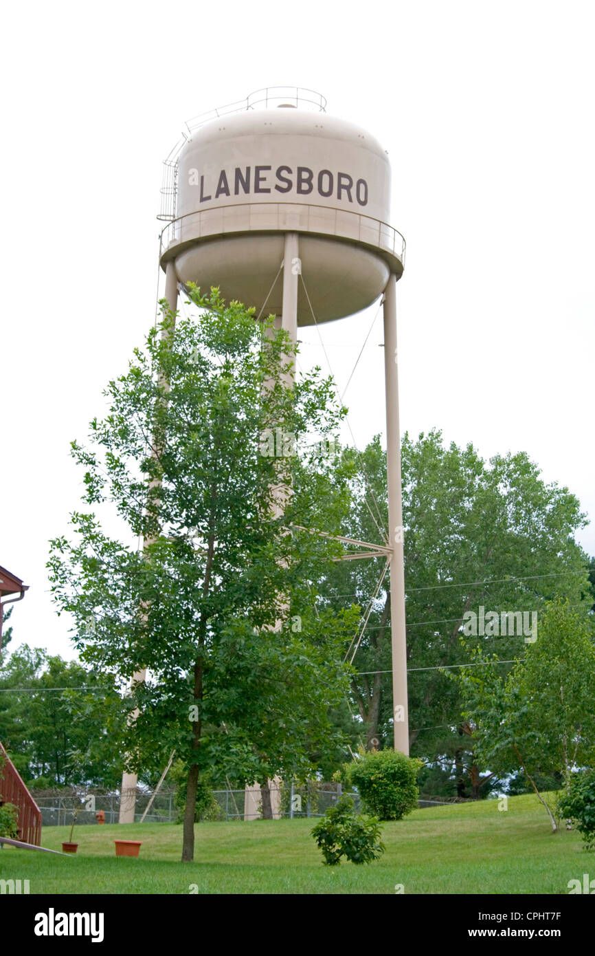 Water tower gravity holding tank. Lanesboro Minnesota MN USA - Stock Image