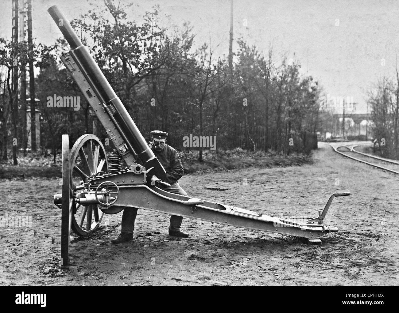 German anti-aircraft gun, 1909 - Stock Image