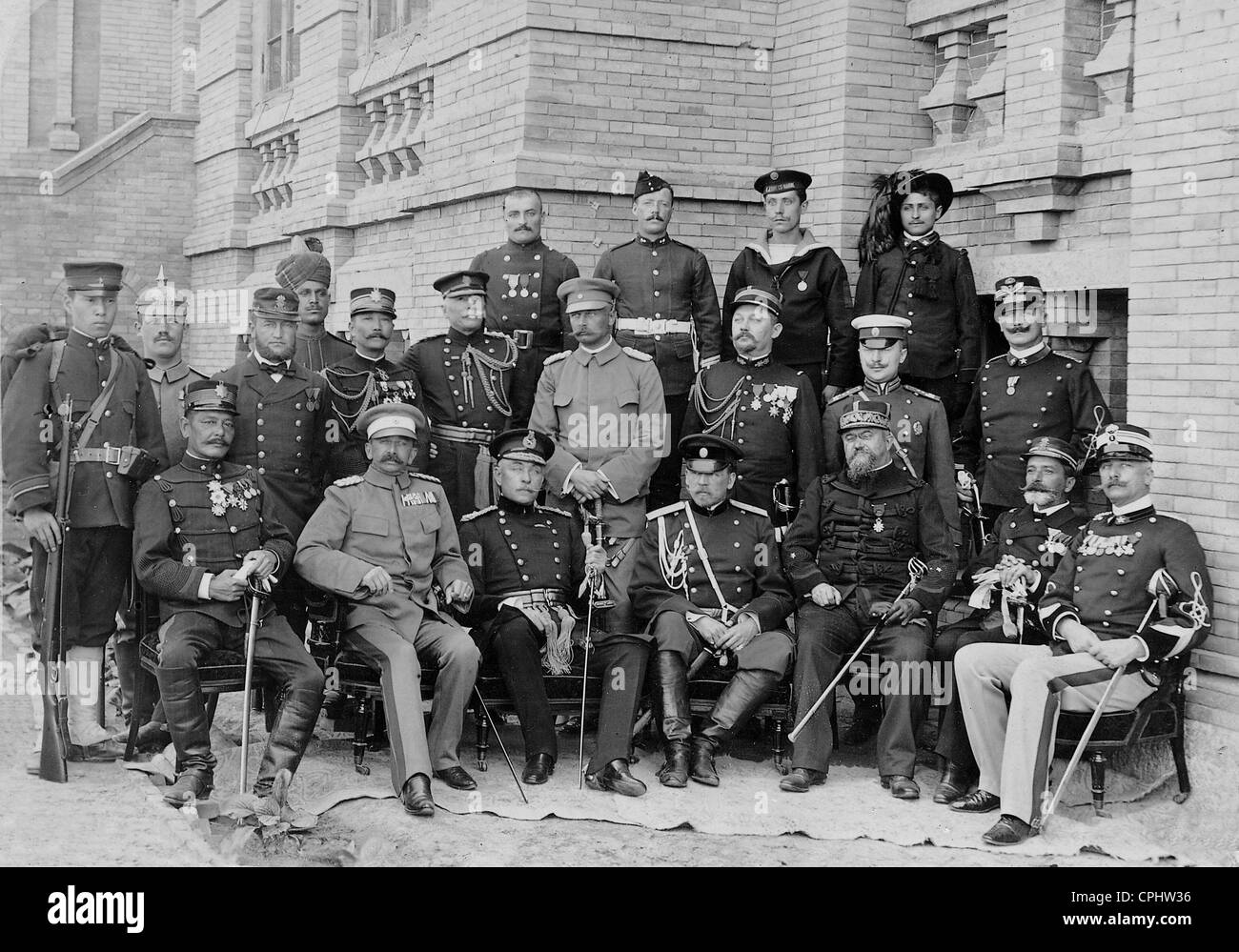 Officers of the multinational occupation force in Tientsin, 1900 - Stock Image