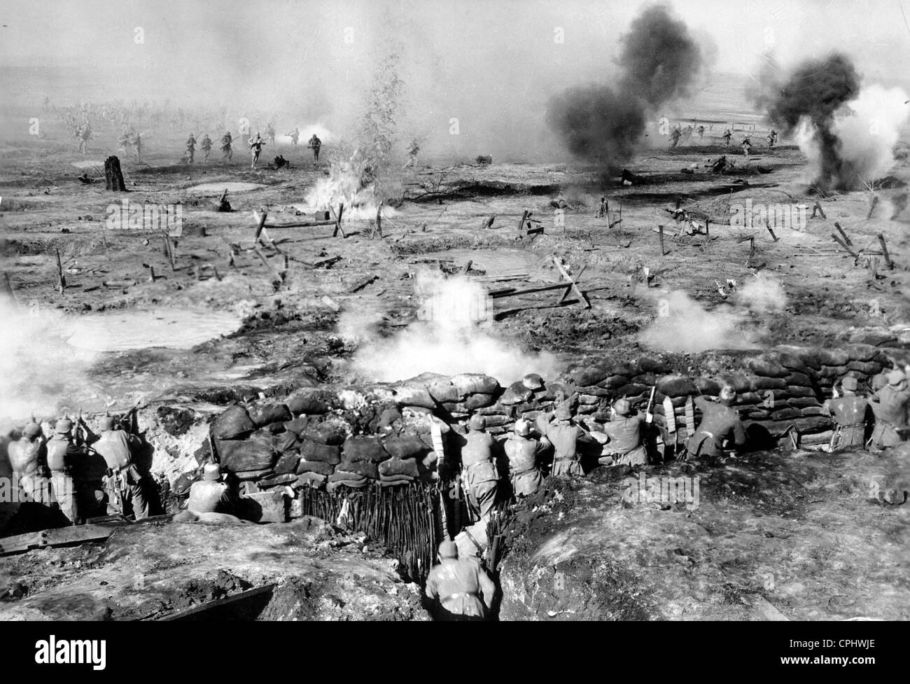 German soldiers on the Western front from the film 'All Quiet on the Western Front', 1930 - Stock Image