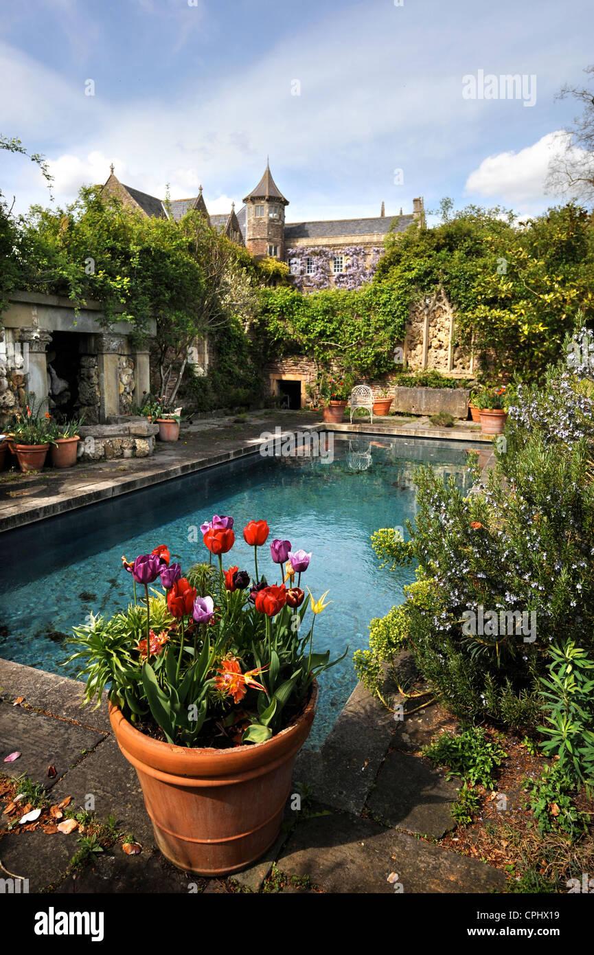 The Pool Garden at Hanham Court Gardens near Bath, home of garden ...