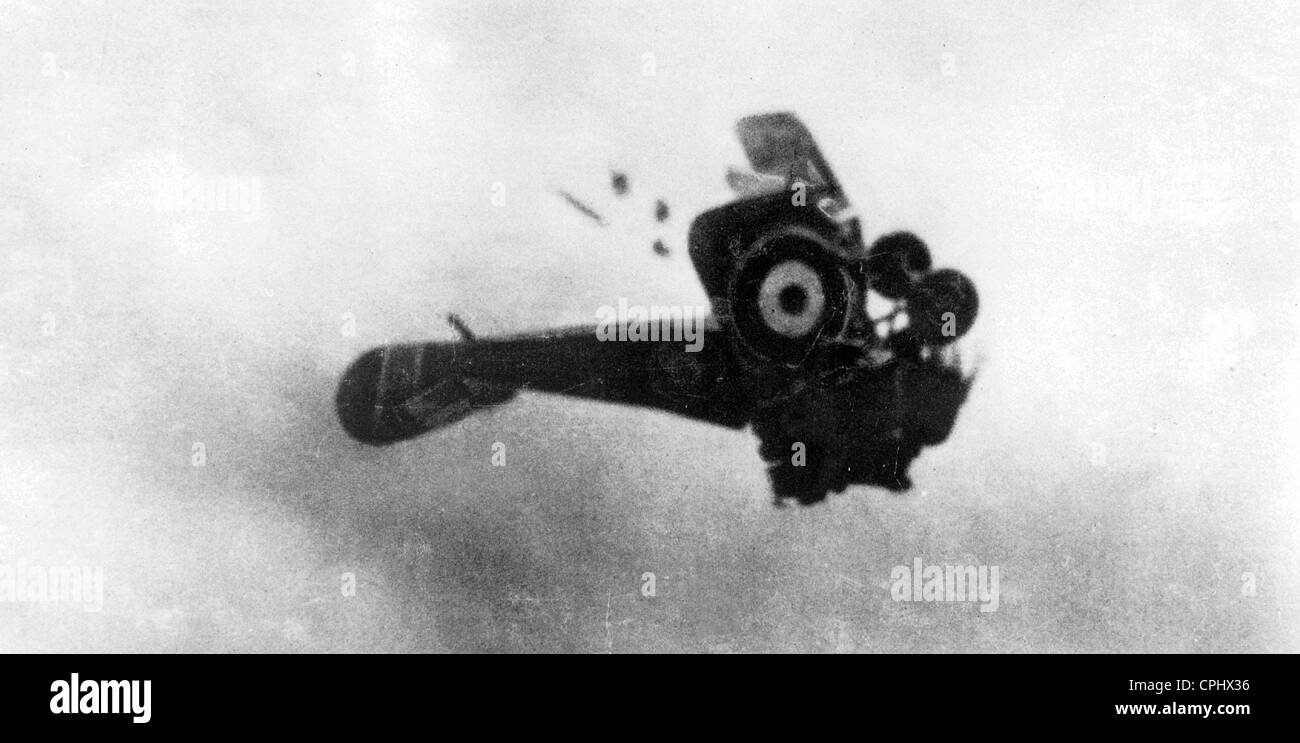 British fighter plane breaks apart in the air Stock Photo