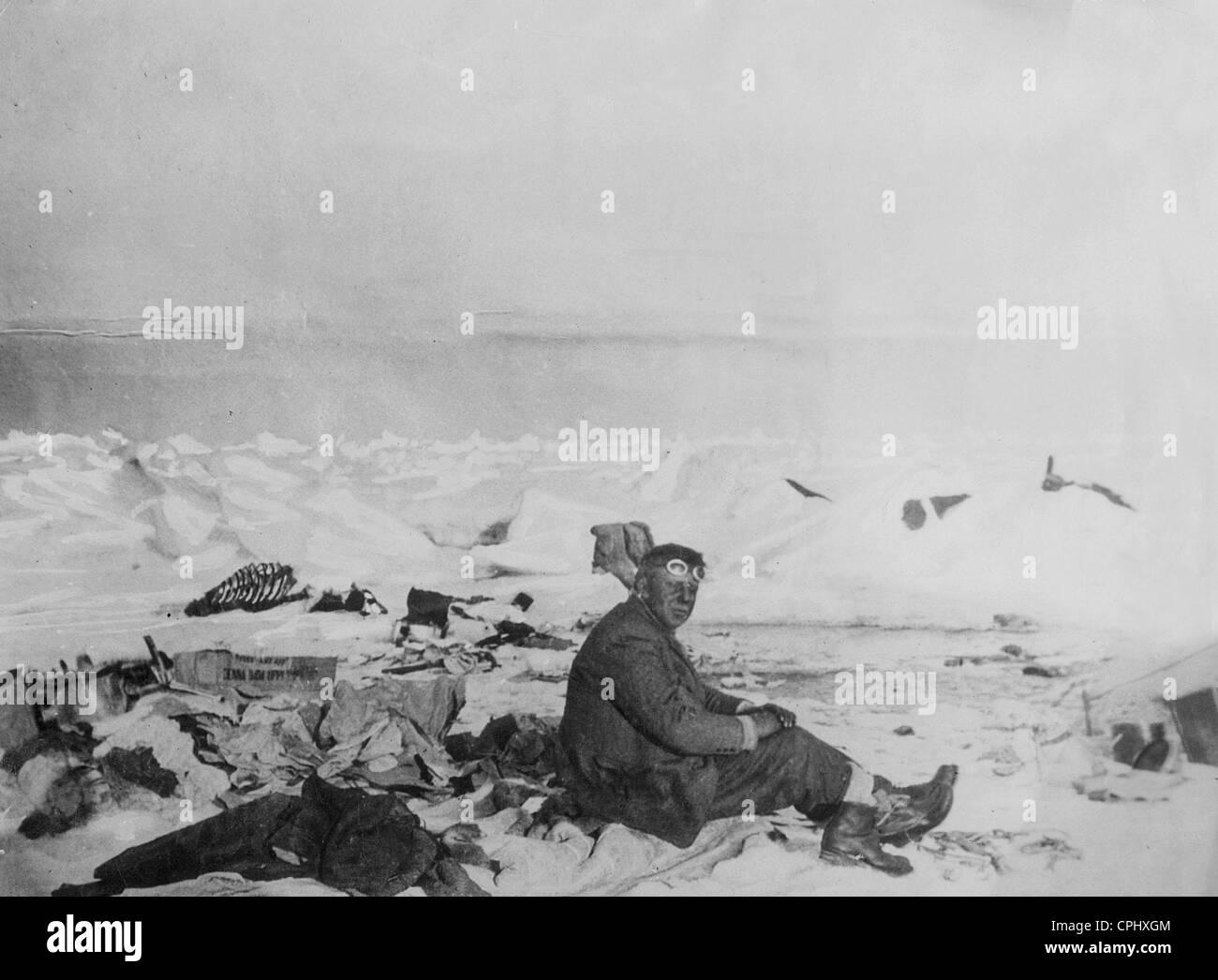 Franz Behounek on the ice floe, 1928 - Stock Image