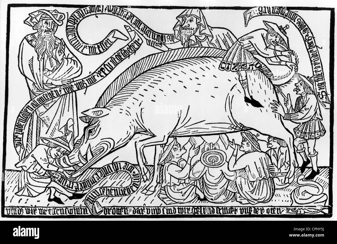Anti-semitic pamphlet titled 'Das Judenschwein' ('The Jewish Pig'), Frankfurt, 1451 (woodcut) - Stock Image