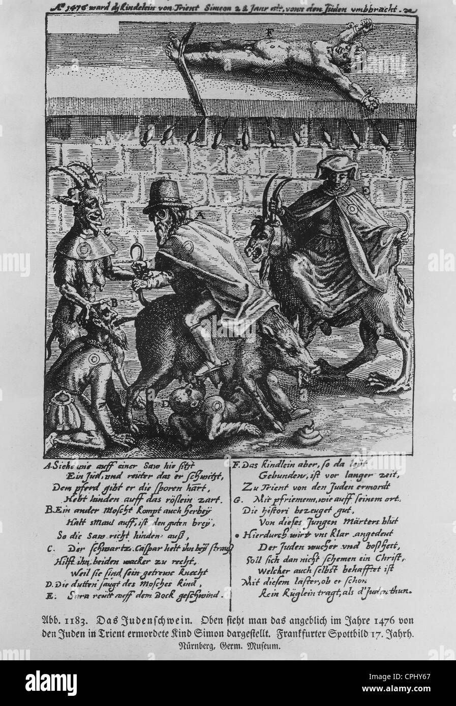 Anti-semitic pamphlet titled 'Das Judenschwein' ('The Jewish Pig'), in the upper part the supposed - Stock Image