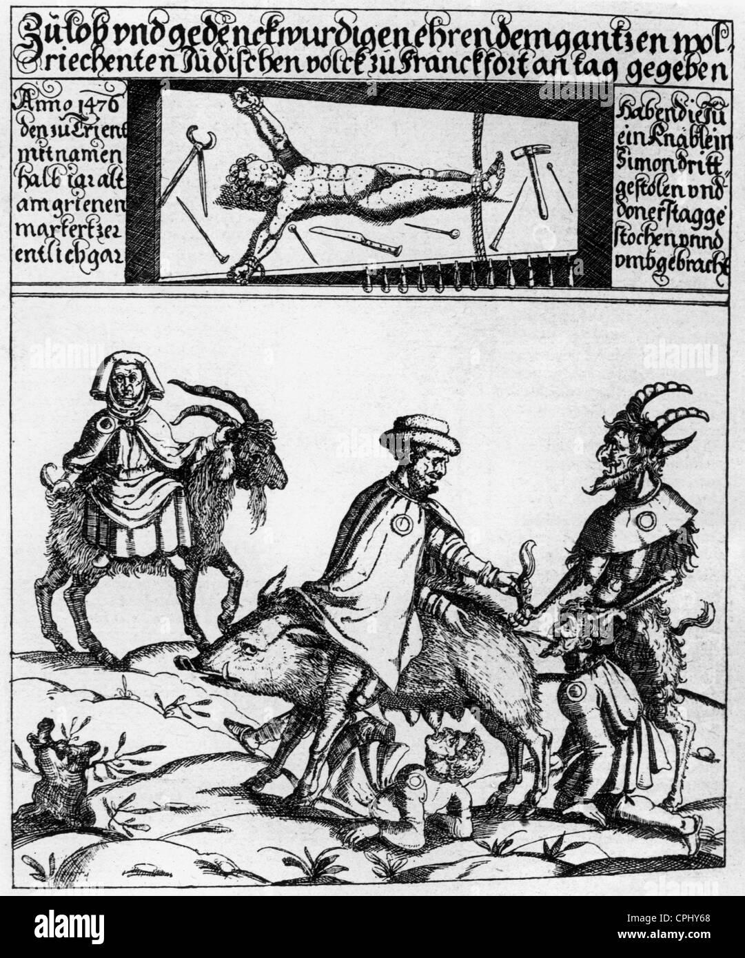 Anti-semitic woodcut  titled 'Das Judenschwein' ('The Jewish Pig') - Stock Image