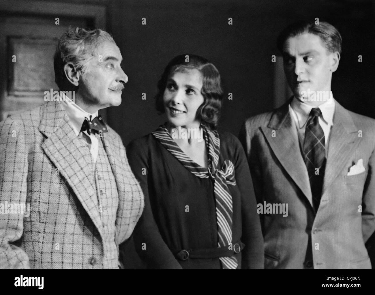 Albert Bassermann, Lili Darves and Adolf Wohlbrueck in 'Jemand', 1931 - Stock Image