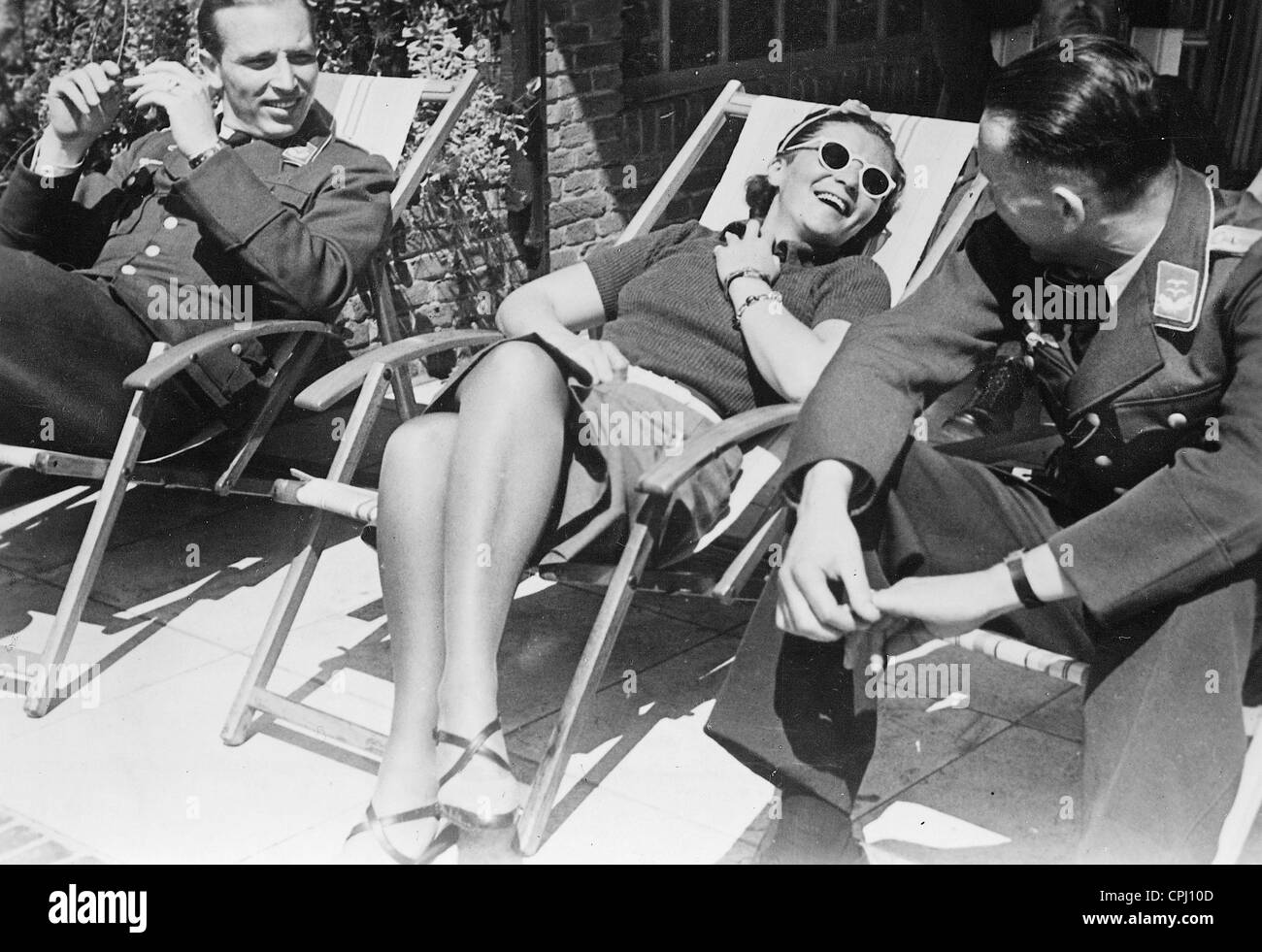 Elly Beinhorn in a deck chair, 1941 - Stock Image