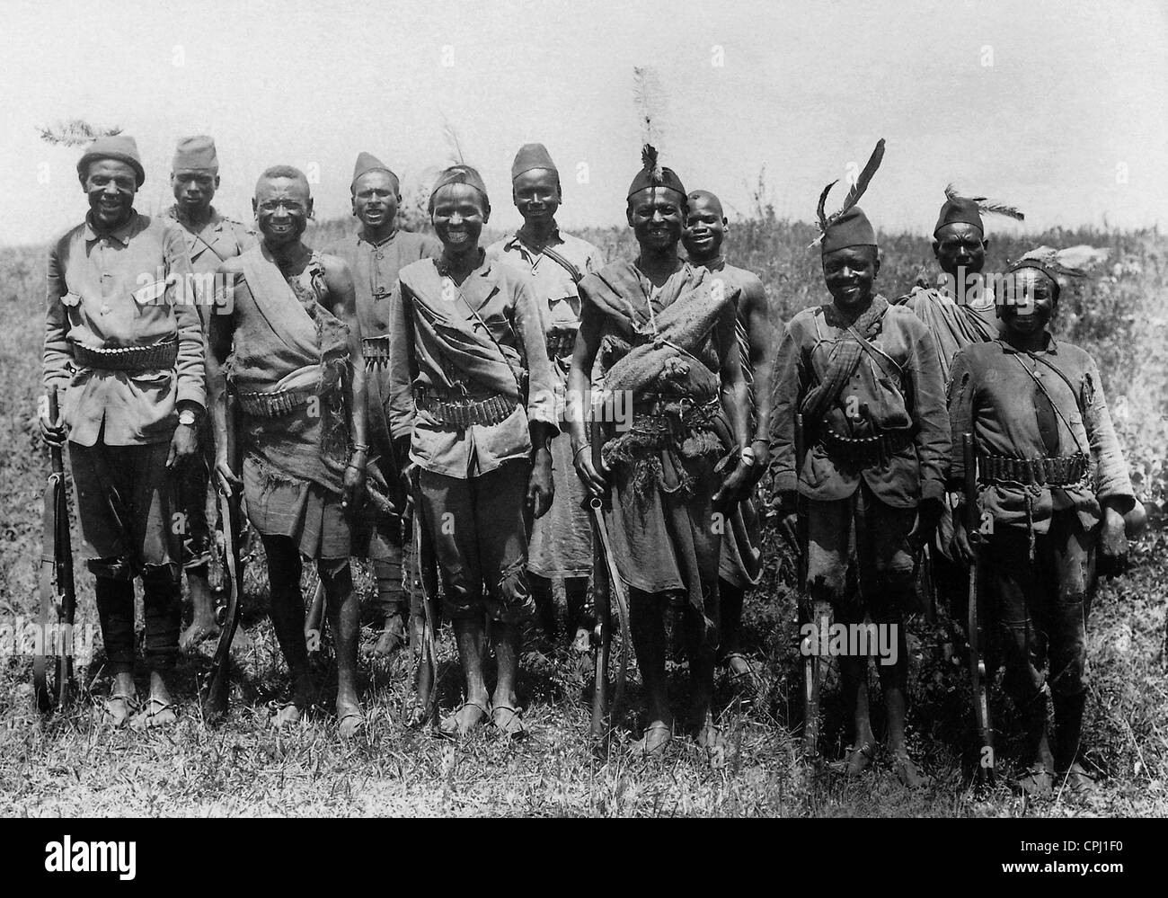 Local auxiliary soldiers in German East Africa - Stock Image