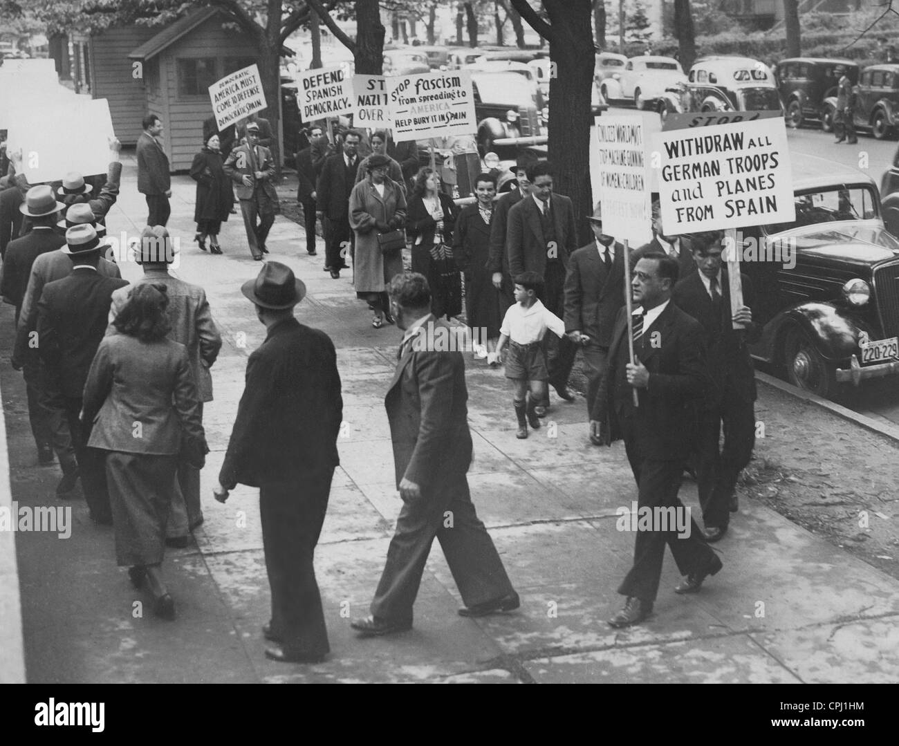 Protest in the USA against the German involvement in the Spanish Civil War, 1937 - Stock Image