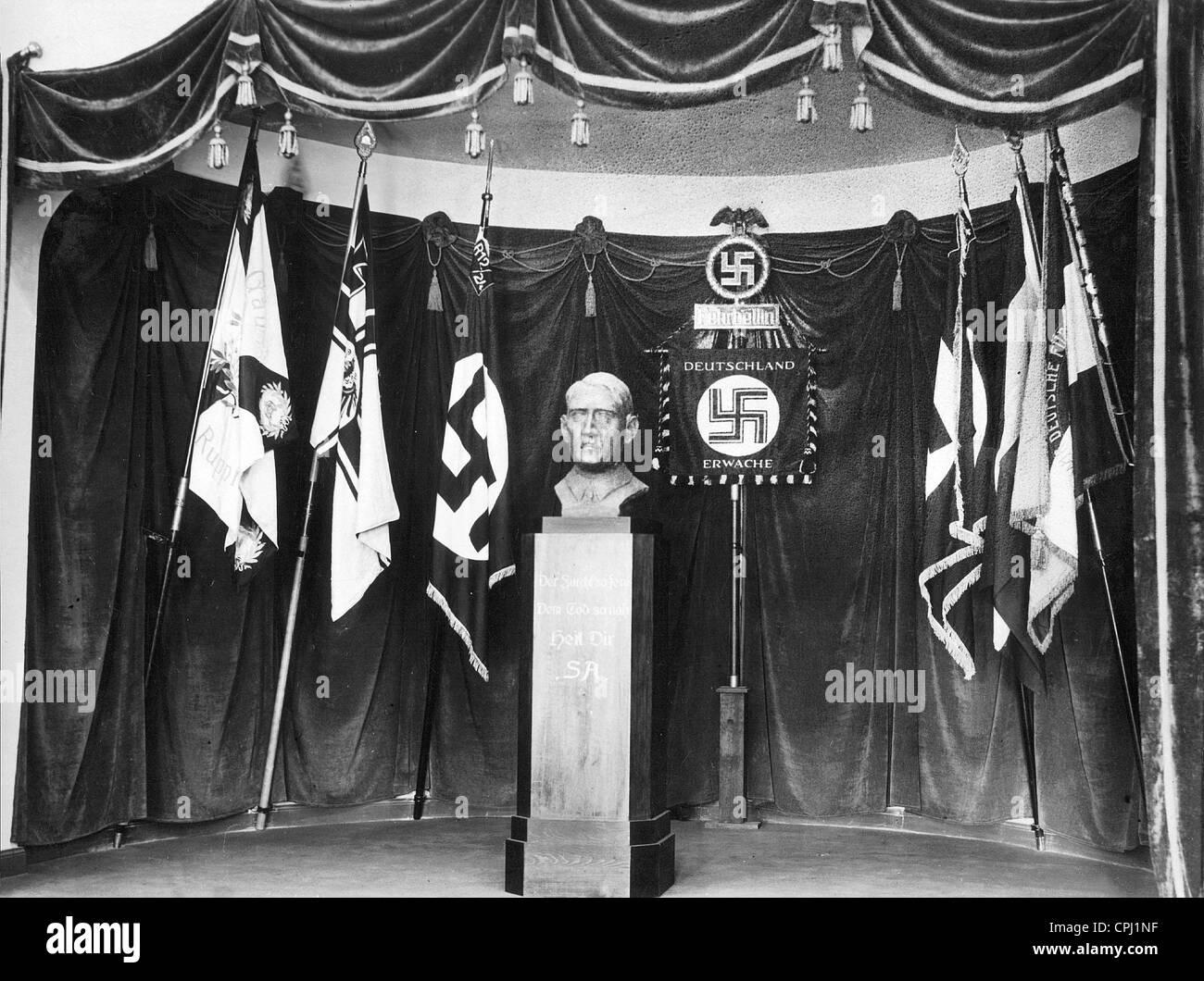 Hall of Flags SA regiment in comradeship home, 1934 - Stock Image