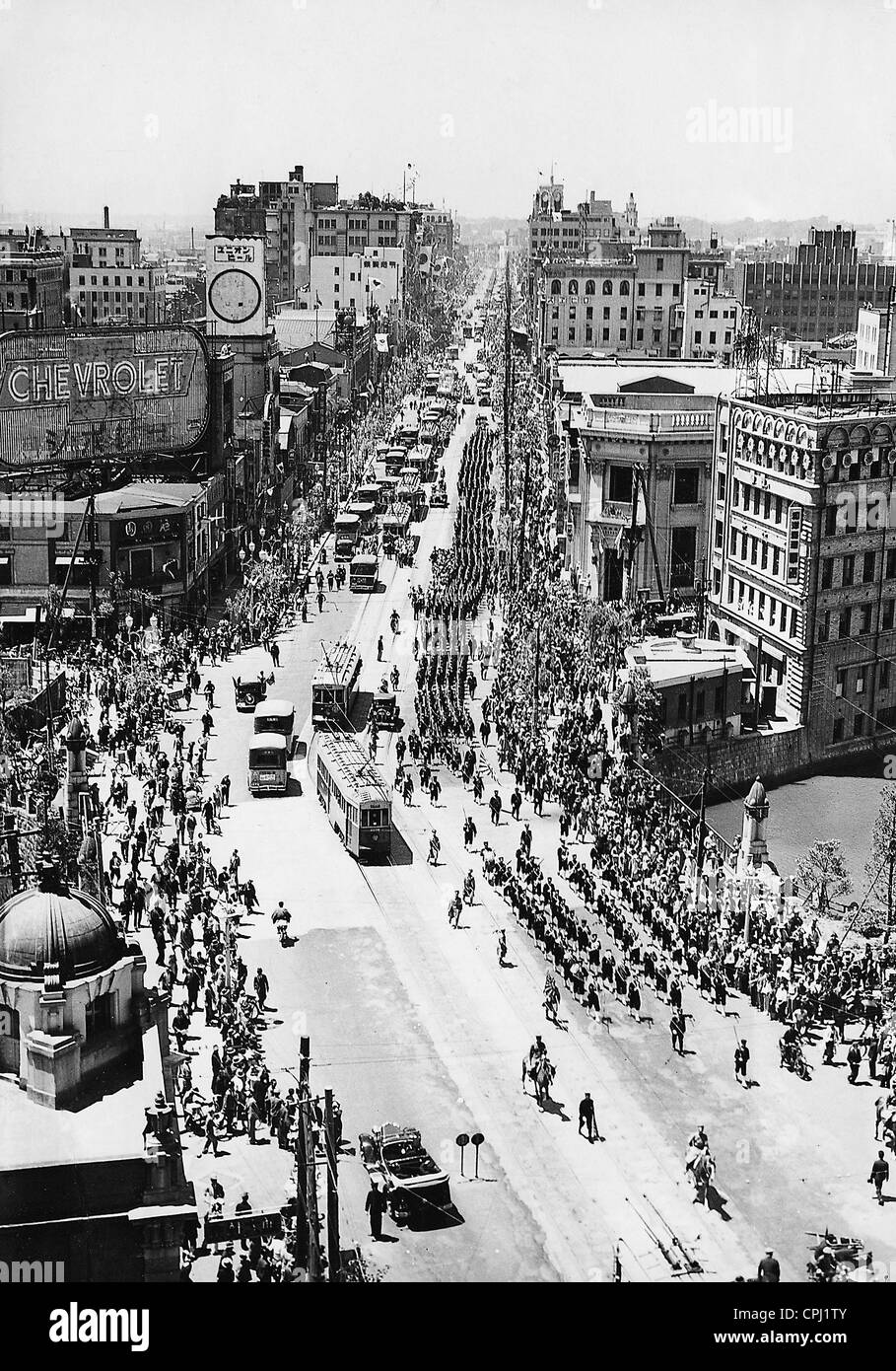 Military Parade in Tokyo, 1935 Stock Photo