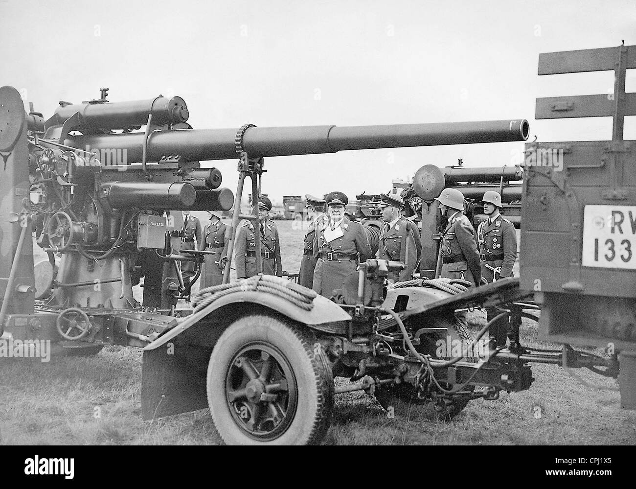 Hermann Goring and Erhardt Milch during the visit of anti-aircraft guns, 1935 - Stock Image