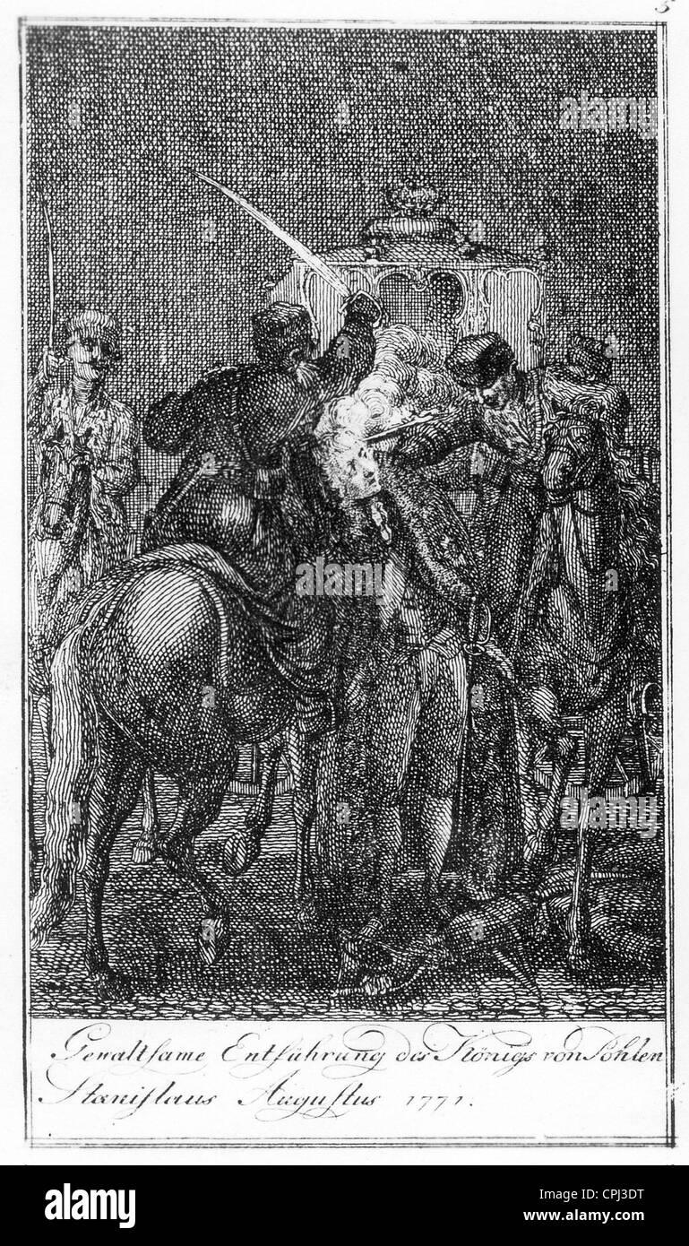 Abduction of the last Polish king Stanislaw II, 1771 - Stock Image