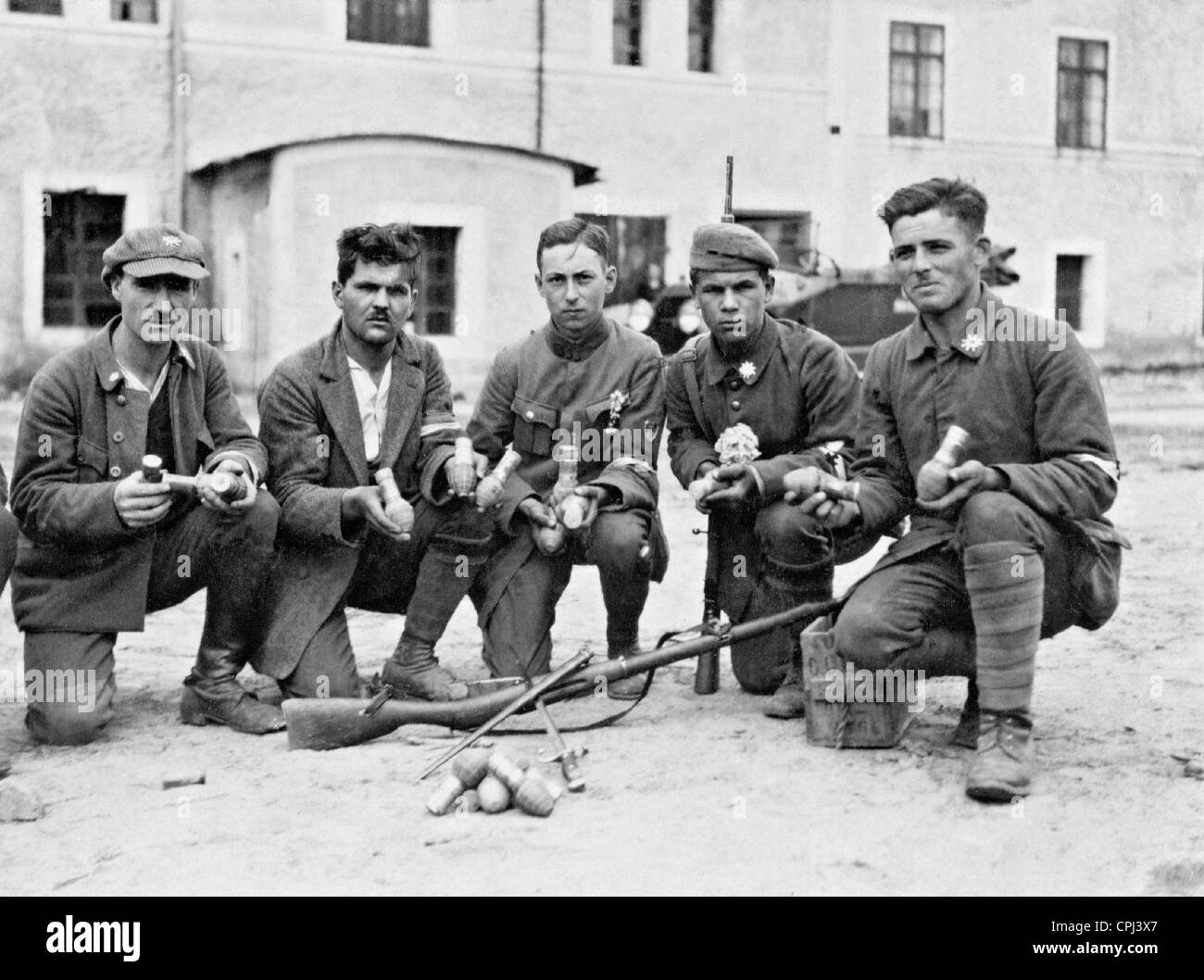 Germans with captured weapons of the rebels in Upper Silesia, 1921 - Stock Image
