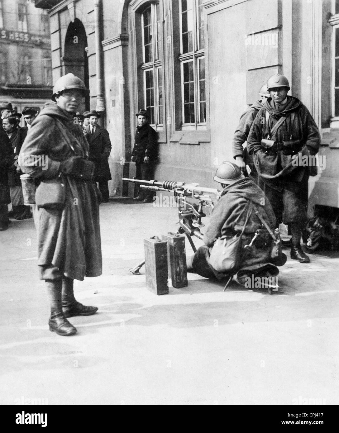 French soldiers in Frankfurt, 1923 - Stock Image