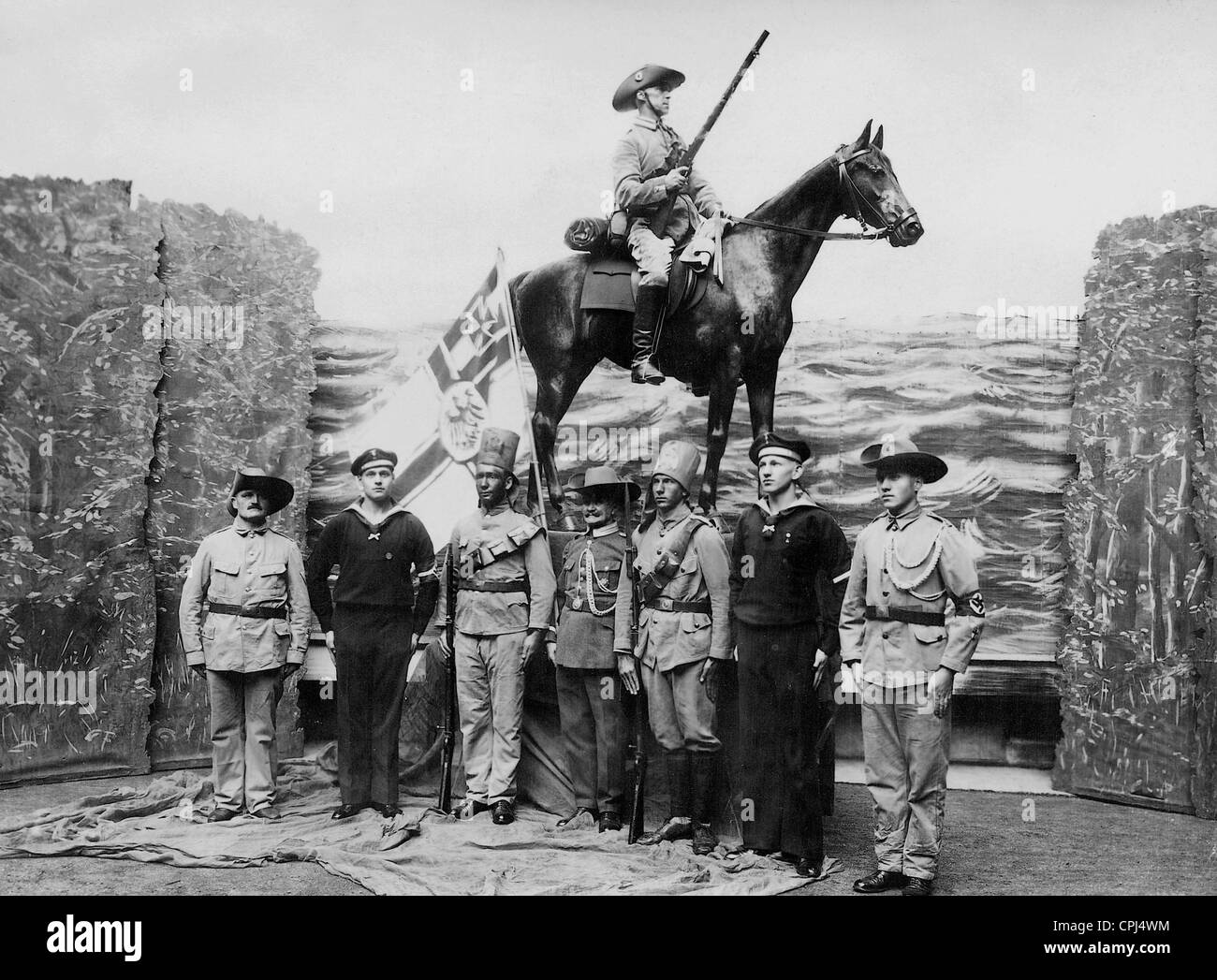 Tableau of German colonial soldiers, 1936 - Stock Image