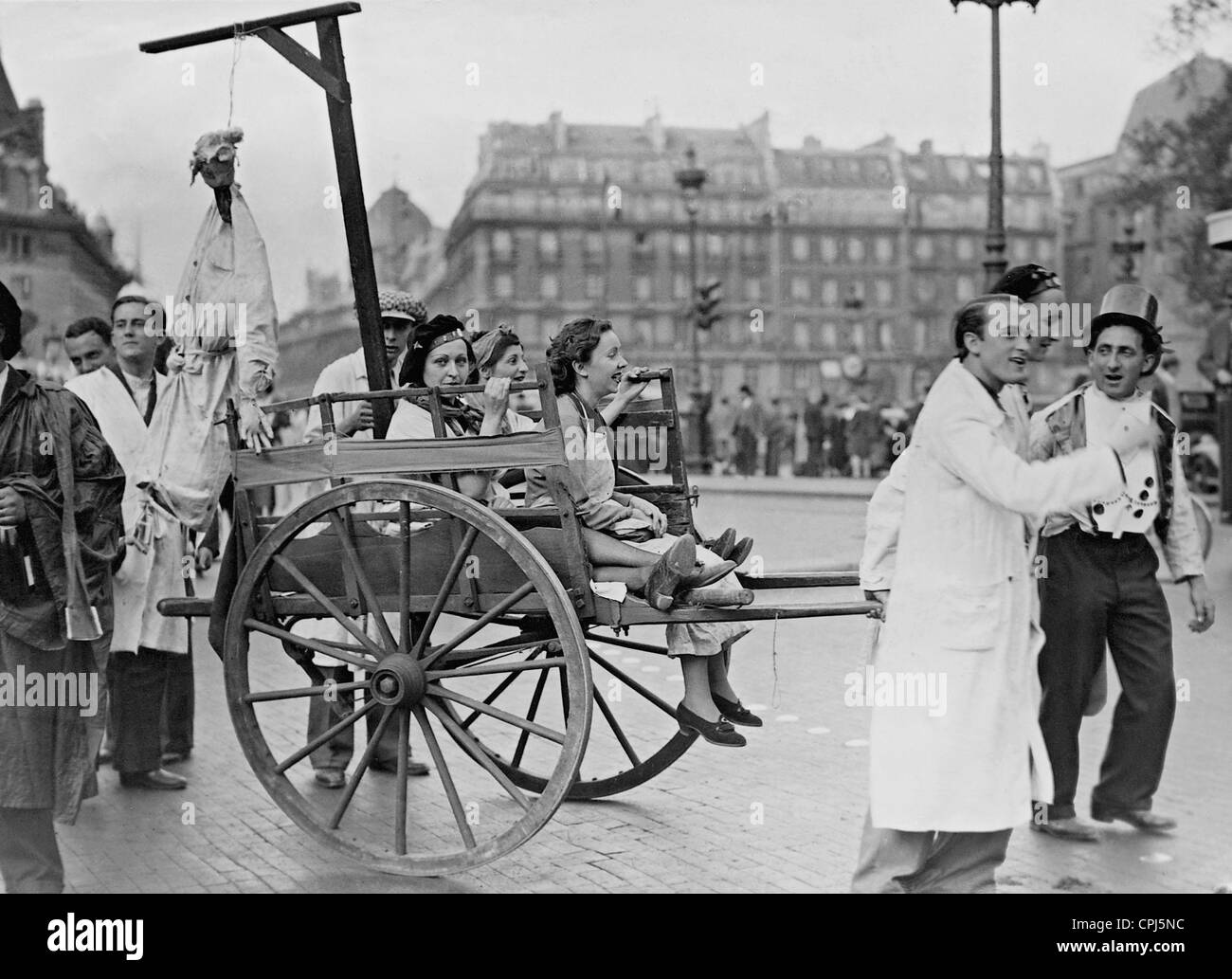 A group of pharmacy students in the Latin Quarter, 1938 - Stock Image