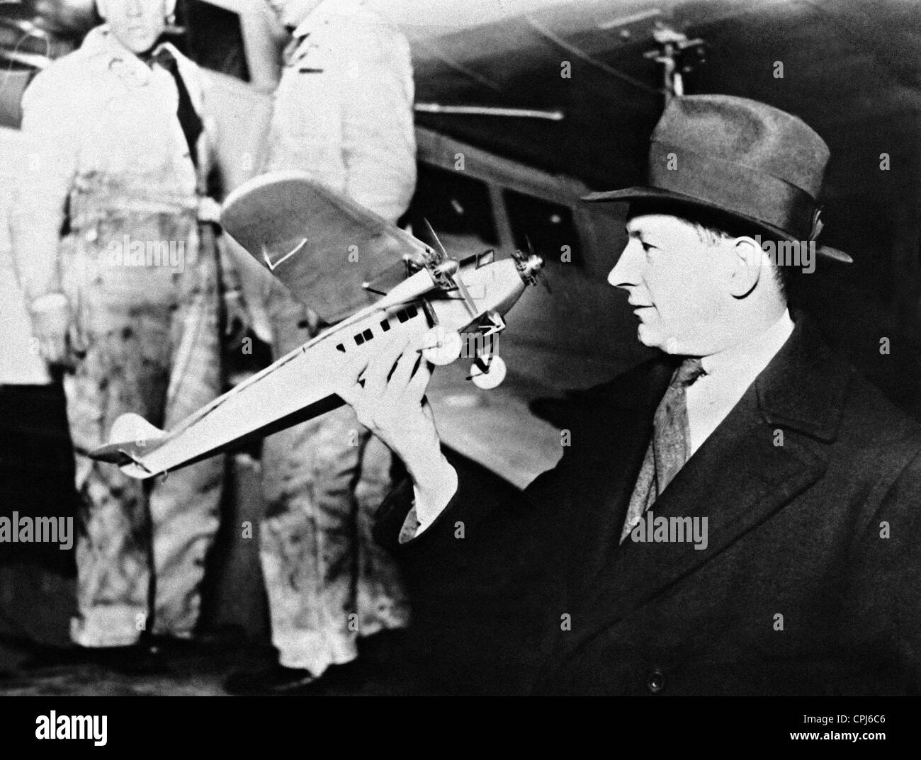 Anthony Fokker with a model of the Southern Cross, 1928 - Stock Image