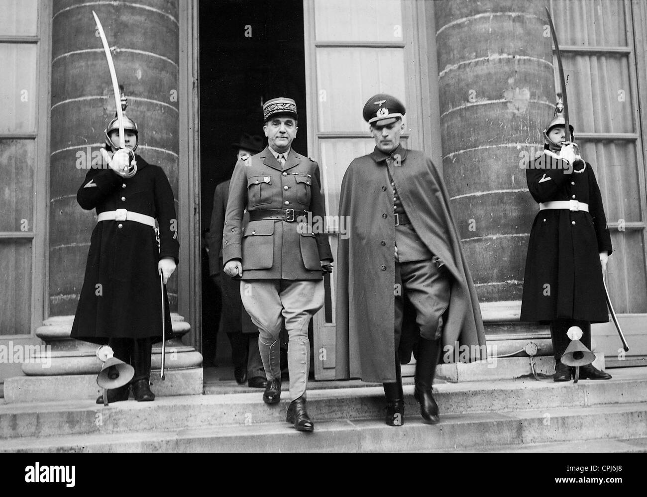 General de la Laurencie with Colonel Otzen, 1940 - Stock Image
