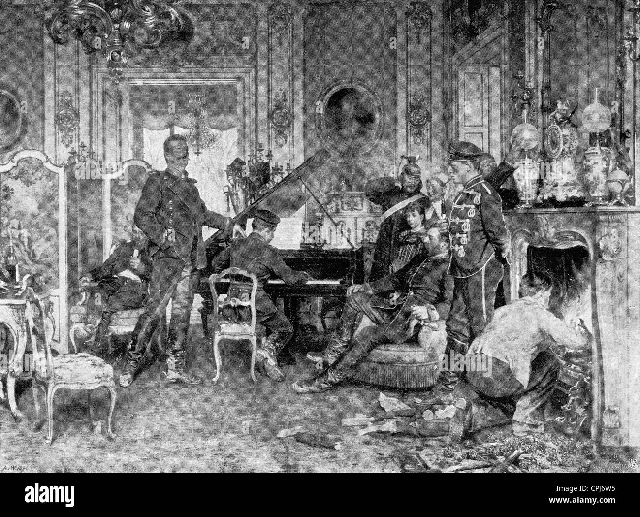 'At the Base Quarters Outside Paris 1870' - Stock Image '