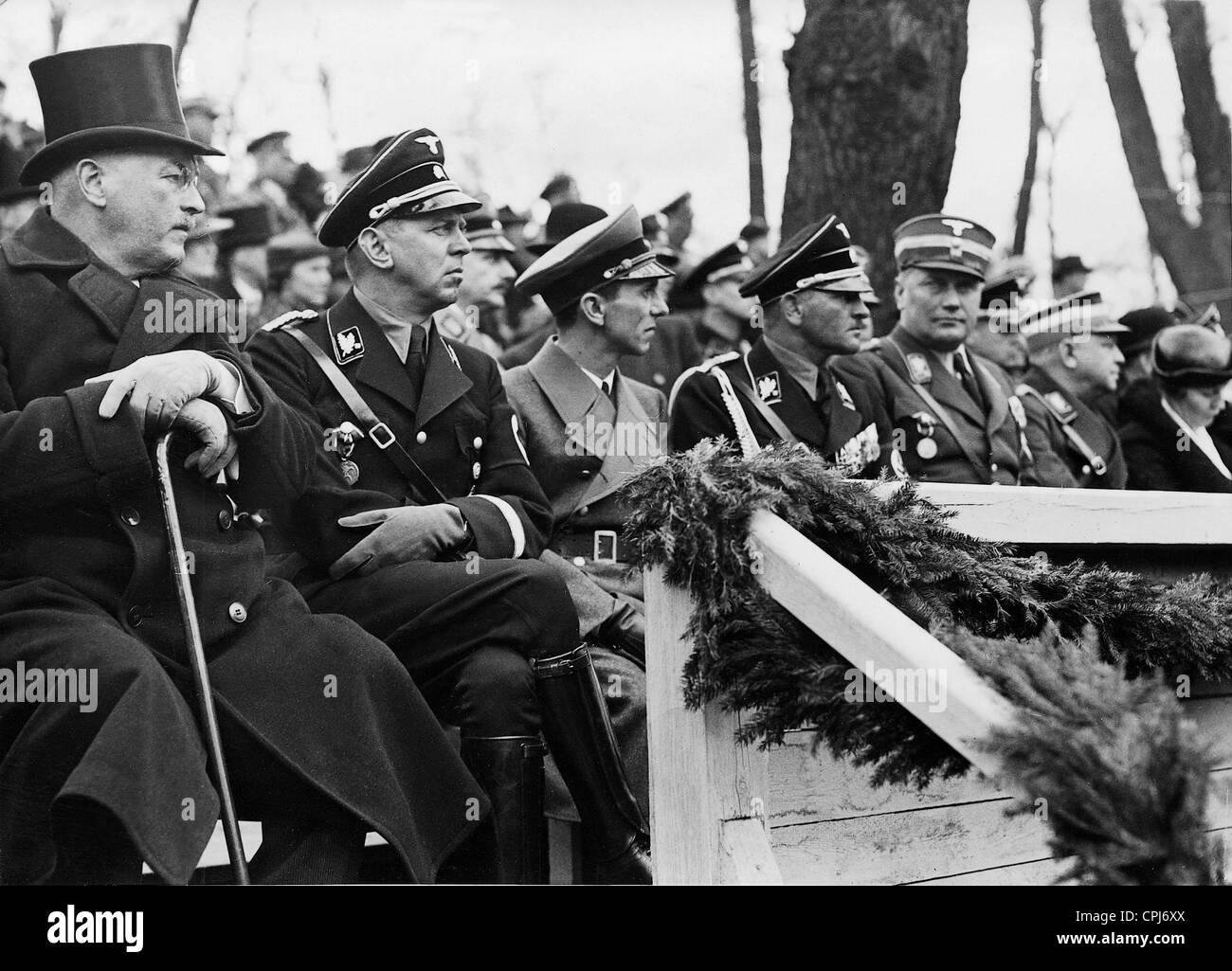 Franz Guertner, Julius Schaub, Joseph Goebbels and Sepp Dietrich, 1936 - Stock Image