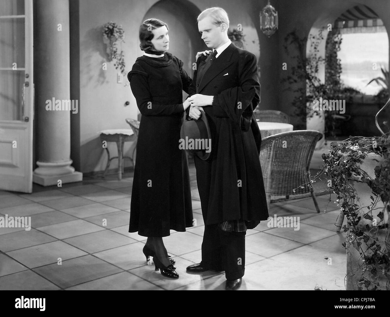 Albert Lieven in a movie scene - Stock Image