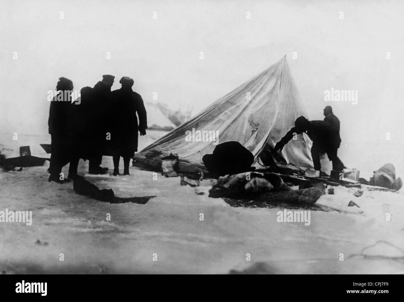 Tent camp after the 'Italia' disaster on Spitsbergen, 1928 - Stock Image