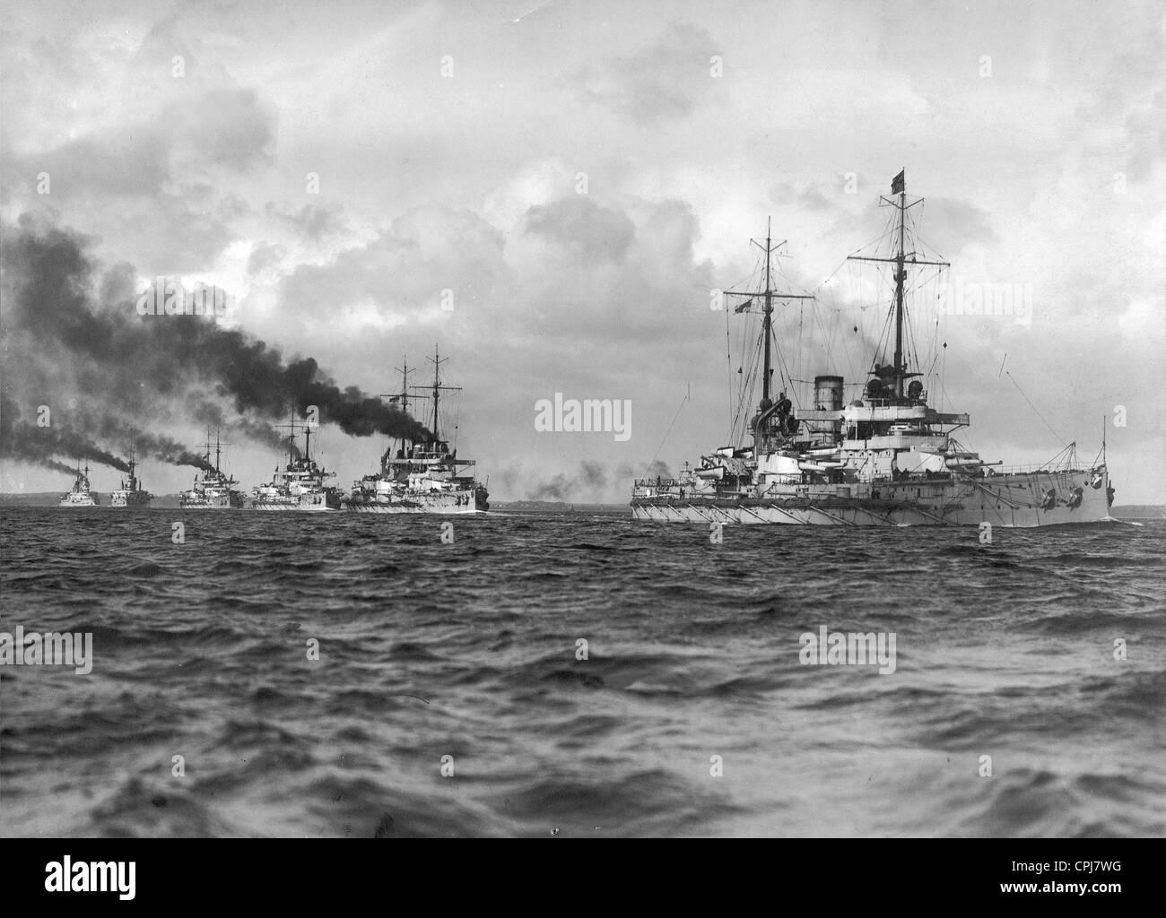 German battleships in the Baltic Sea, 1911 - Stock Image