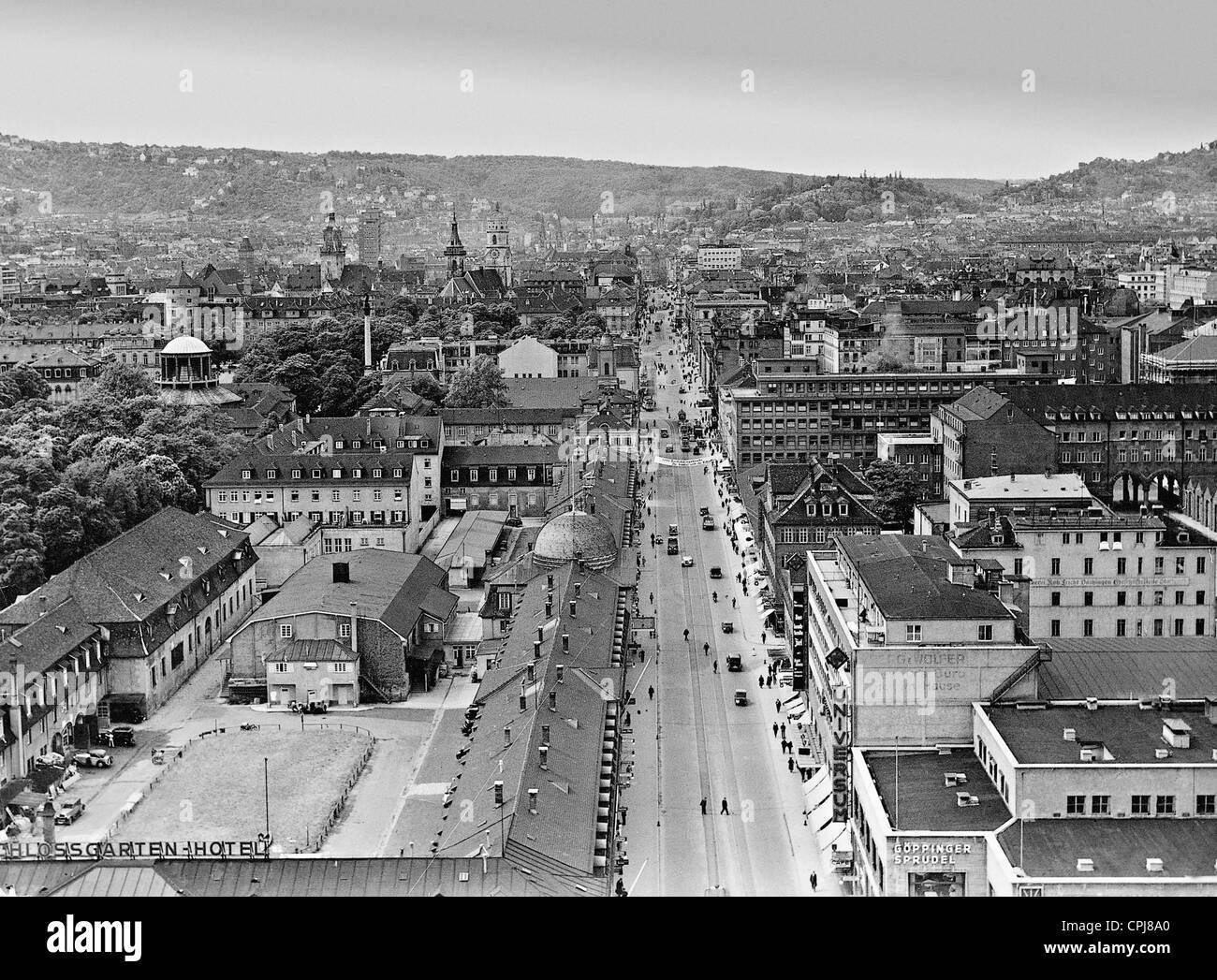 View over Stuttgart's Koenig Strasse - Stock Image